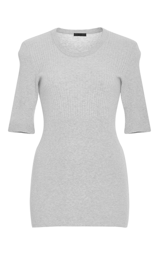 Medium atm light grey ribbed cotton cashmere sweater