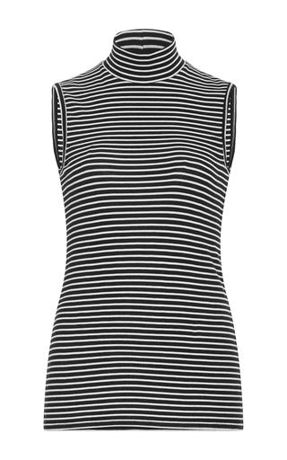 Medium atm stripe striped mock neck top