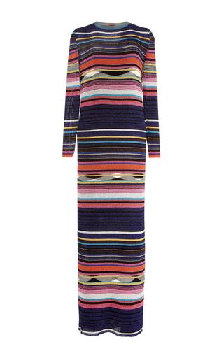 Medium missoni black multicolored ribbed lurex long sleeve dress