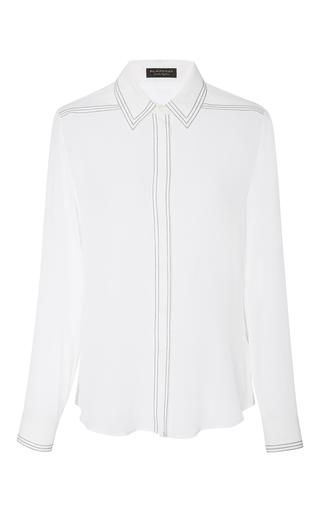 Medium burberry white contrast stitched silk shirt