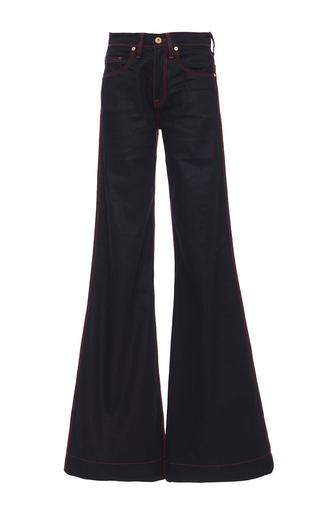 Medium burberry dark wash luggage stitch flared jeans  2