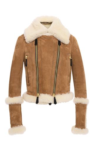 Medium burberry tan shearling biker jacket