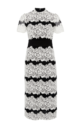 Medium burberry black white two toned chantilly lace dress