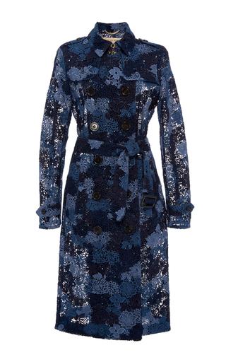 Medium burberry blue sandringham tie dye lace trench