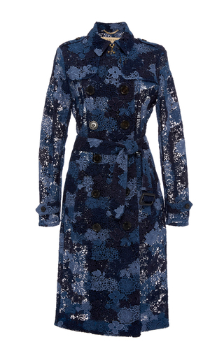 Medium burberry blue sandringham tie dye lace trench