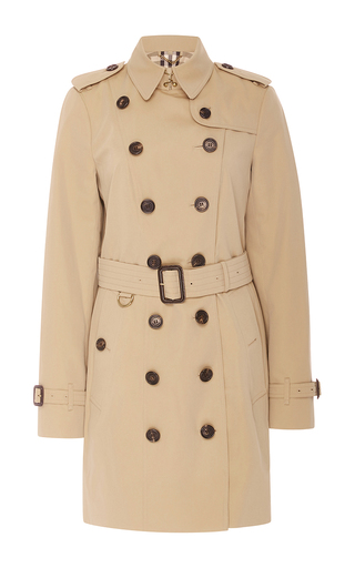 Medium burberry tan sandringham double breasted trench coat  2