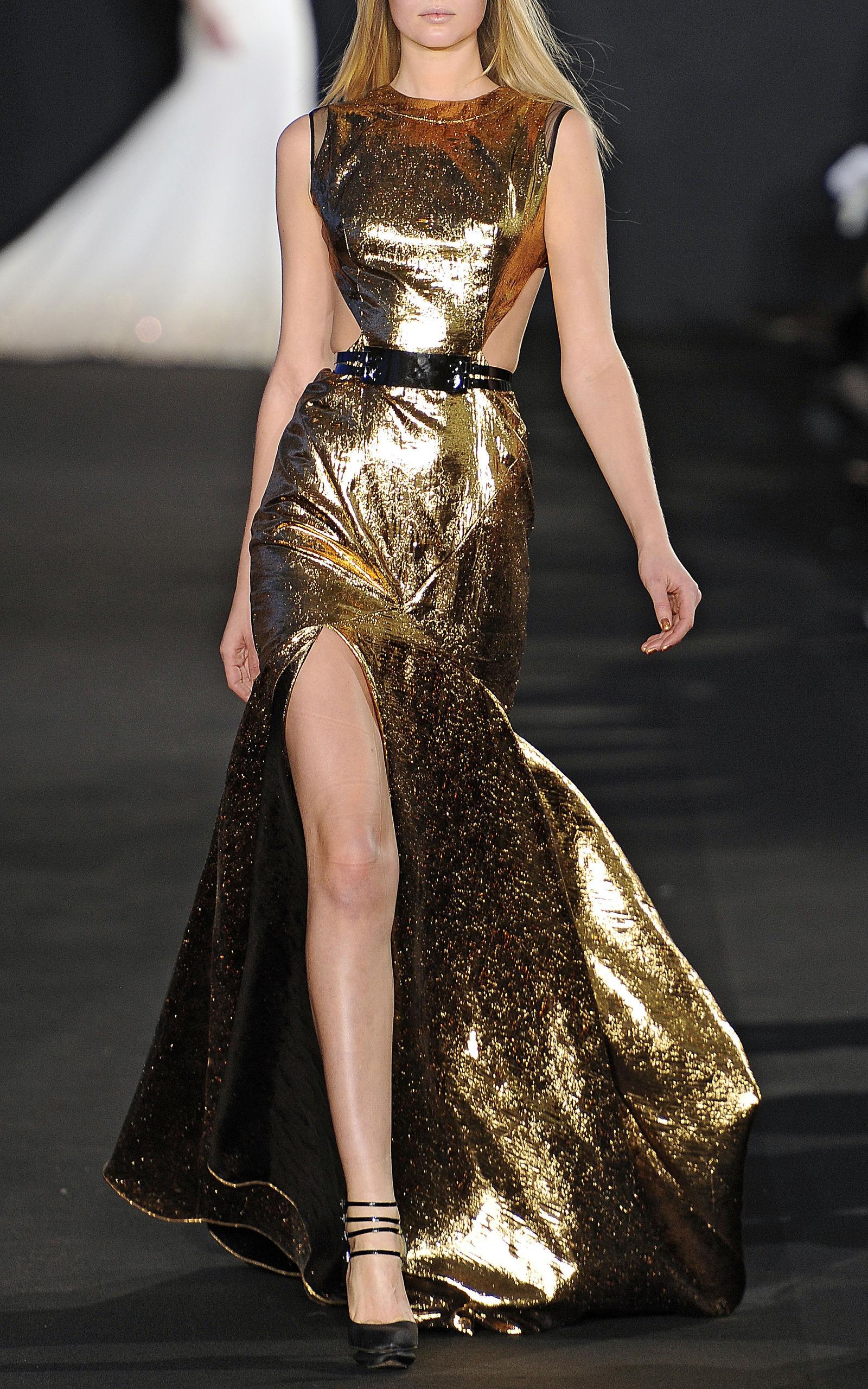 Gold Lame Evening Gown By Prabal Gurung Moda Operandi