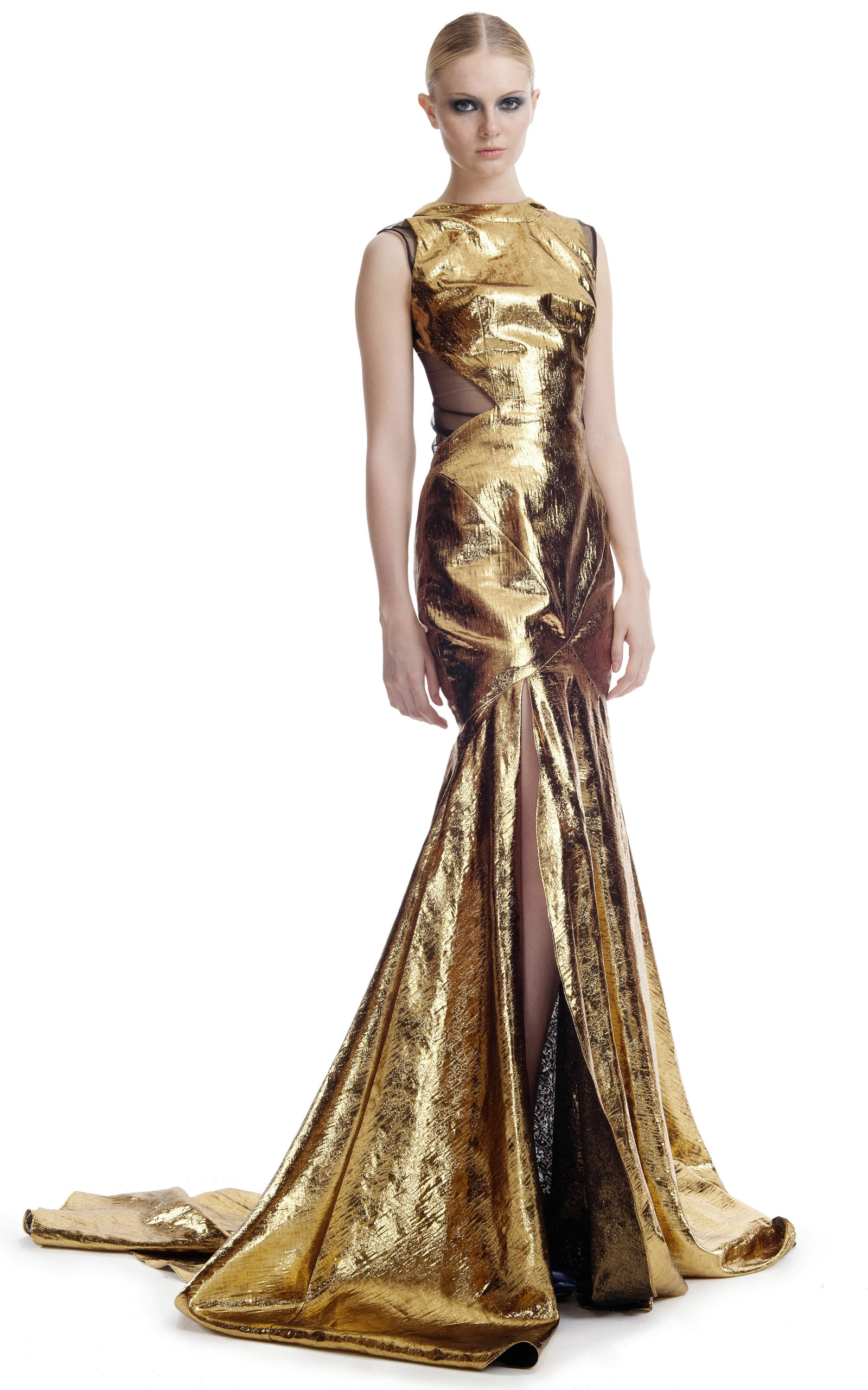 Gold lame evening gown by prabal gurung moda operandi for Golden dresses for a wedding