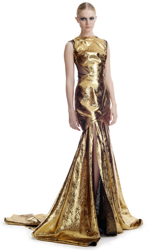 Medium prabal gurung gold gold lame evening gown custom