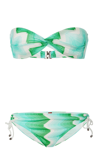 Medium missoni green sfumato twist front bikini