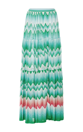 Medium missoni green zig zag sfumato maxi skirt