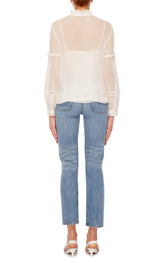 Chalk Lace Collar Shirt  by NEEDLE & THREAD Now Available on Moda Operandi