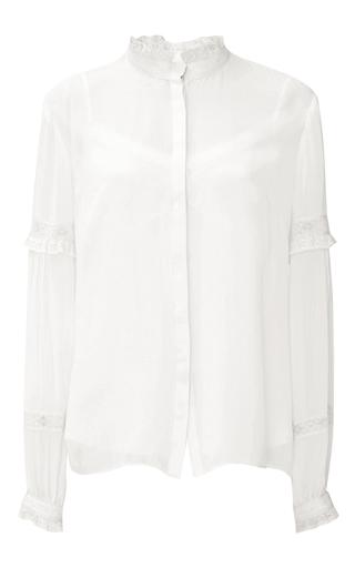 Medium needle thread white chalk lace collar shirt