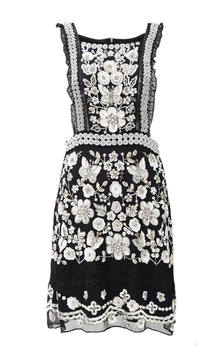 Medium needle thread black white floral mini dress