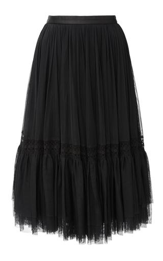 Medium needle thread black black lace tulle skirt