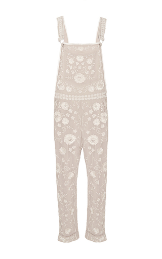 Medium needle thread neutral rose beige floral lace dungarees