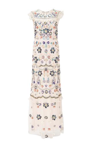 Medium needle thread light pink petal pink butterfly garden maxi dress