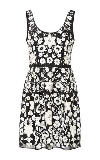 Medium needle thread black blossom embroidery prom dress