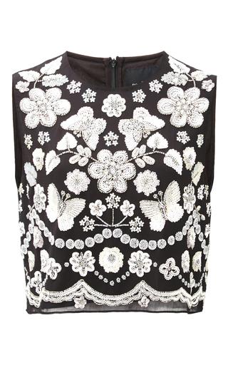 Medium needle thread black black embellished bib top