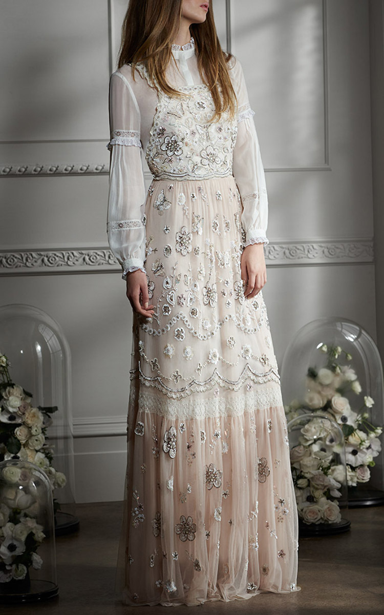 Embellished Bib Gown By Needle Amp Thread Moda Operandi