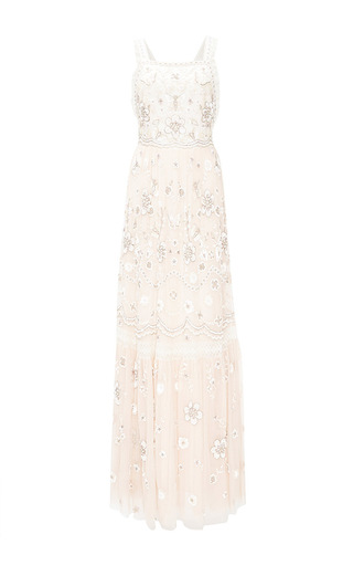 Medium needle thread light pink embellished bib gown