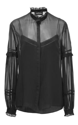 Medium needle thread black black lace collar shirt