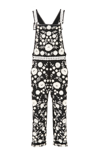 Medium needle thread black black chalk floral lace dungarees