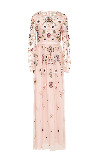 Medium needle thread light pink petal pink woodland lace maxi dress
