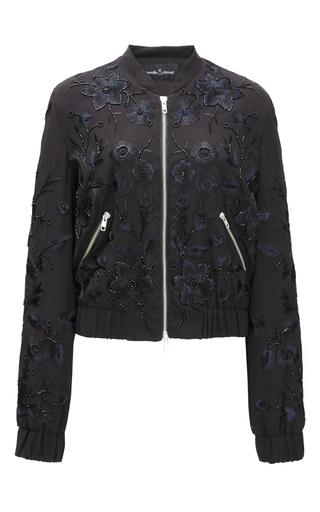 Medium needle thread black blossom embroidery bomber jacket