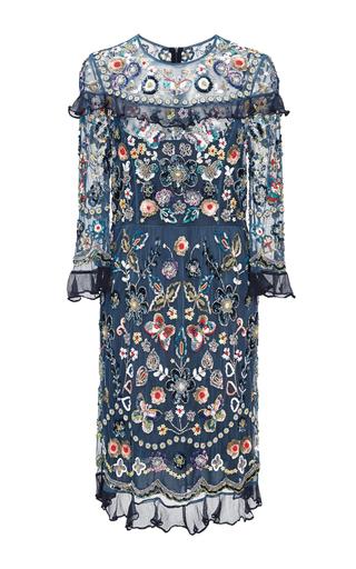Medium needle thread blue bleach indigo butterfly garden dress