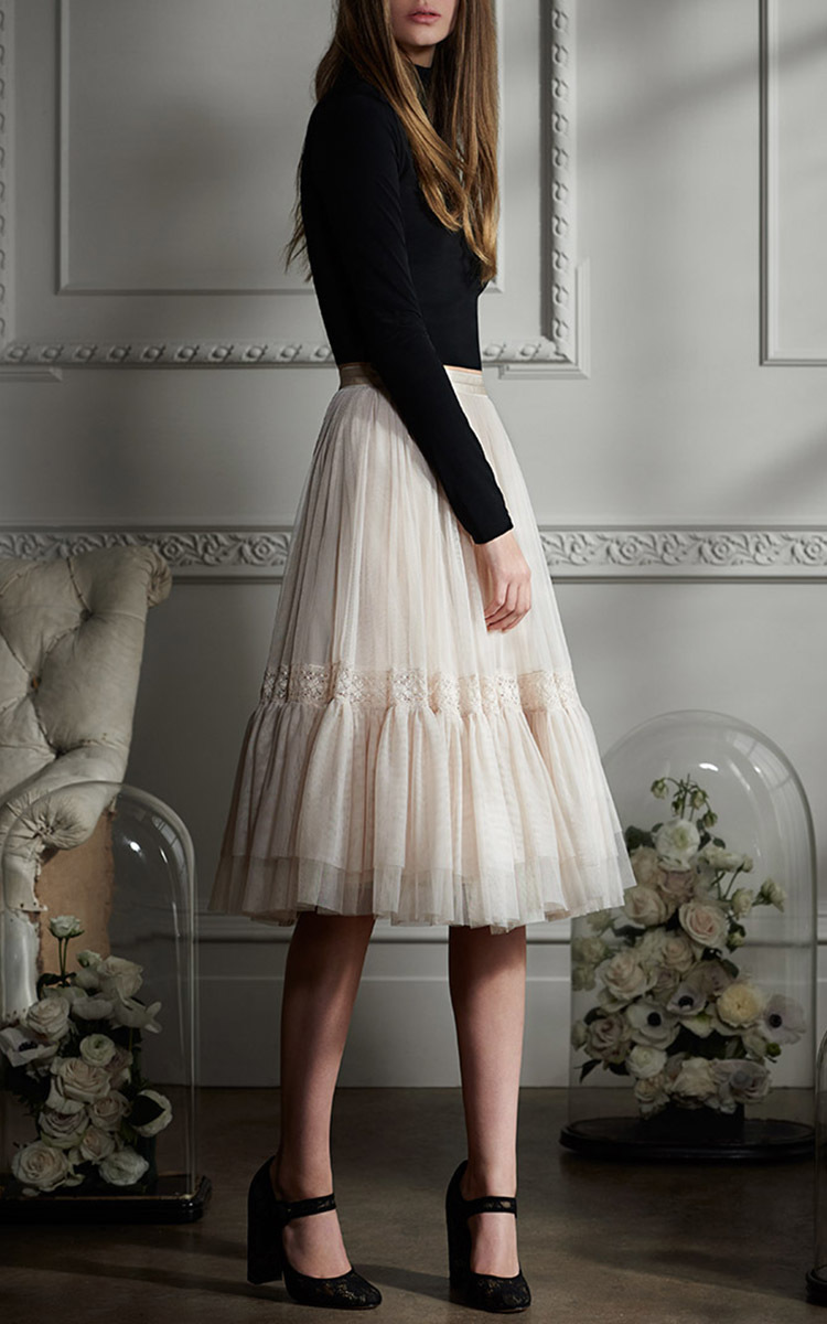 Rose Beige Lace Tulle Skirt By Needle & Thread