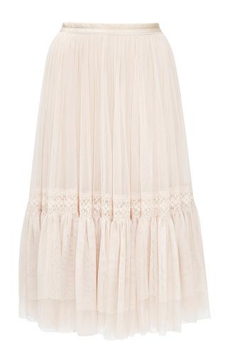 Medium needle thread ivory rose beige lace tulle skirt