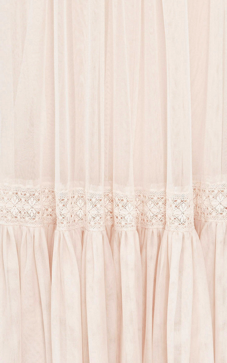 Rose Beige Lace Tulle Maxi Skirt By Needle &