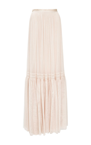 Medium needle thread neutral rose beige lace tulle maxi skirt