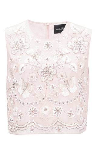 Medium needle thread light pink petal pink embellished bib top