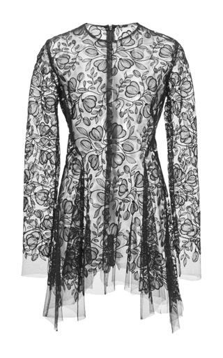 Medium lela rose black floral embroidered tulle blouse