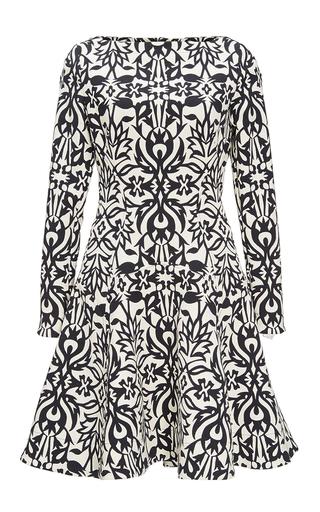 Medium lela rose black black ornamental jacquard fit and flare dress
