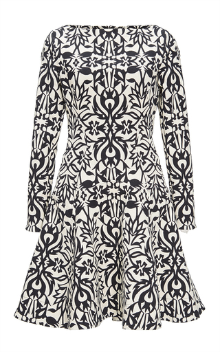 Medium lela rose black black ornamental jacquard fit and flare dress