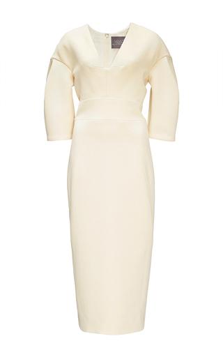 Medium lela rose ivory ivory wool crepe sheath dress