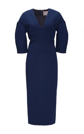 Medium lela rose navy navy wool crepe sheath dress