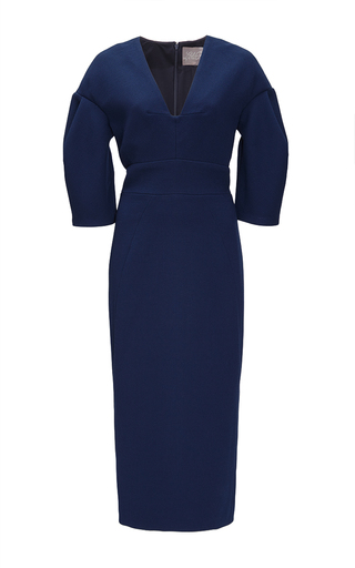 Medium lela rose navy navy wool crepe sheath dress