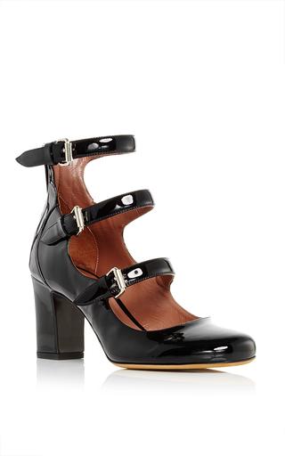 Medium tabitha simmons black ginger patent leather pumps