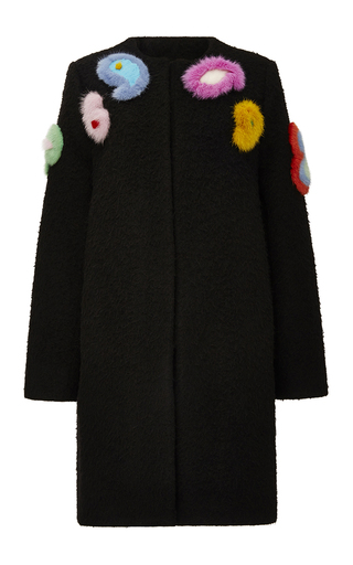 Medium etro black nubby alpaca coat with mink paisleys