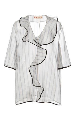 Medium marni grey hejira stripe organza ruffle blouse