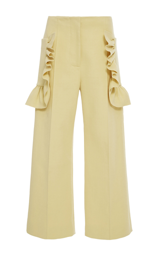 Medium marni yellow cotton crepe ruffle cropped trouser