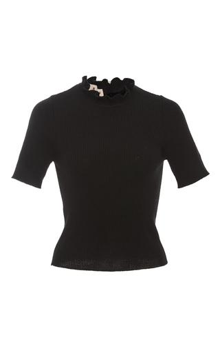 Medium marni black ruffle neck knit sweater