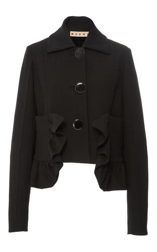 Medium marni black cotton crepe ruffle jacket