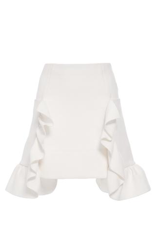 Medium marni white cotton crepe ruffle skirt