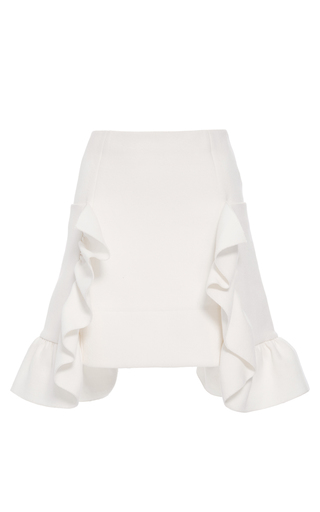 Medium marni white cotton crepe ruffle skirt