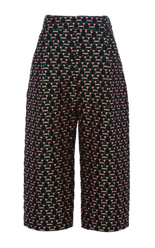 Medium marni black magi jacquard cropped trouser
